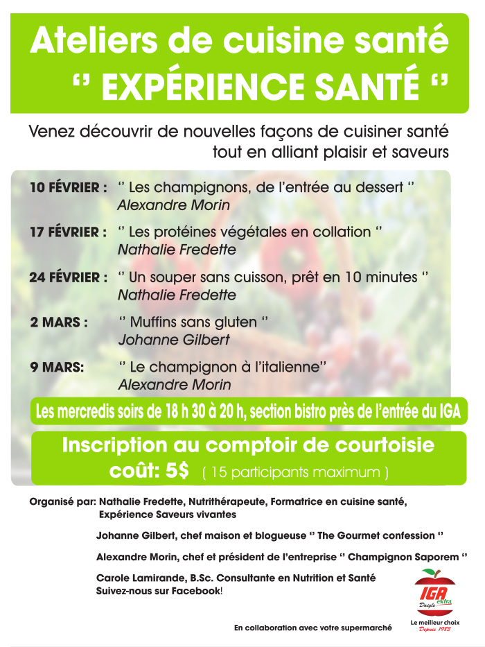 Iga daigle atelier cuisine for Ateliers de cuisine