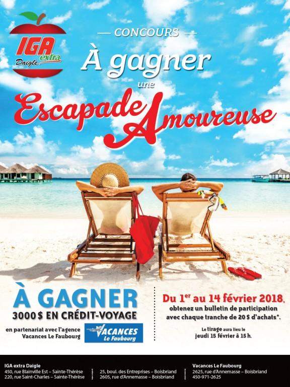 Concours Escapade Amoureuse IGA Daigle 2018
